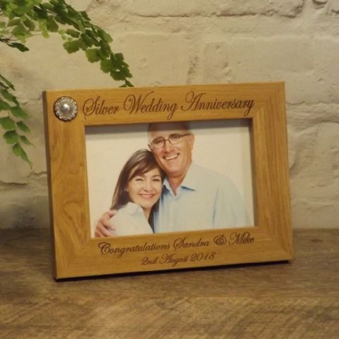 Personalised 25th Silver Wedding Anniversary Photo Frame 7x5